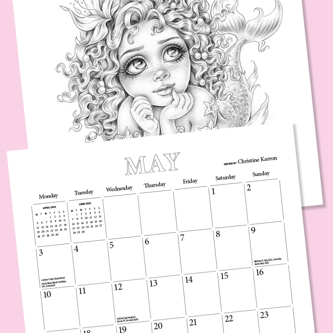 May page of Colouring Heaven 2021 Calendar
