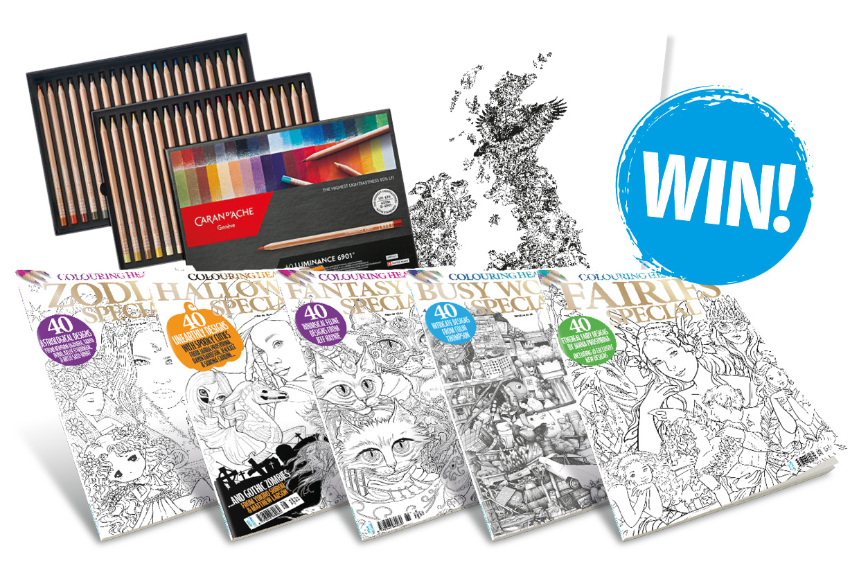 Win a set of 40 Caran-Dache Luminance pencils, and a collection of Colouring Heaven Goodies!