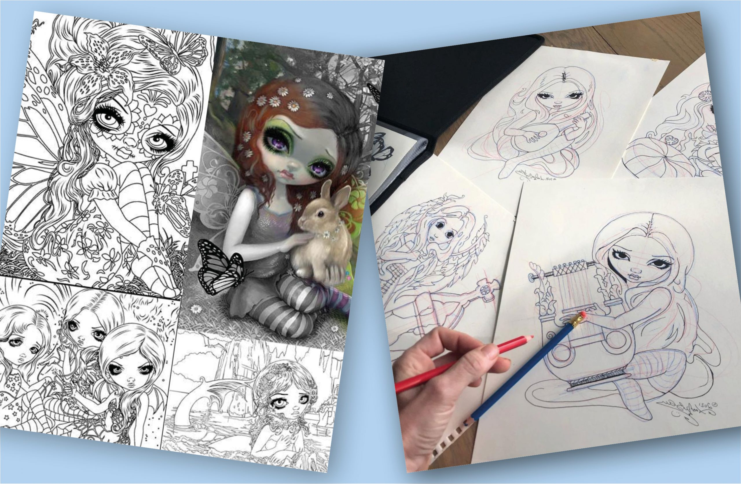 New colouring pages and merch from Jasmine Becket-Griffith!