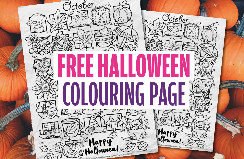 Free Halloween colouring page from Janna Prosvirina