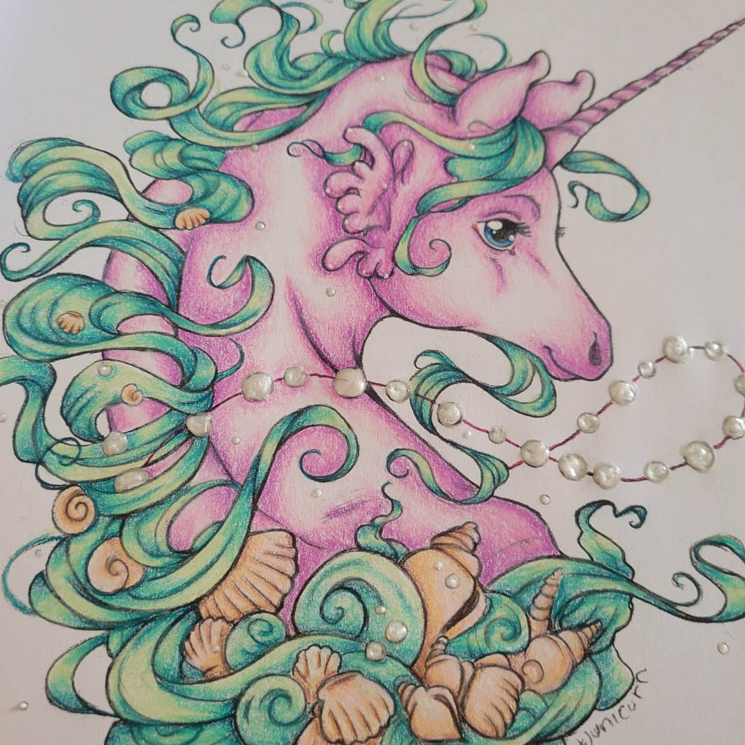 Unicorn colouring page by Elisabeth Wheeler from our Unicorns Special issue