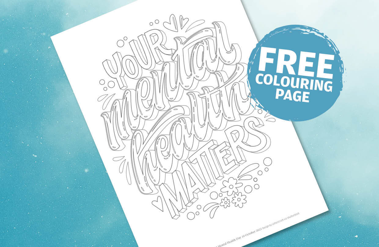 Free colouring page: World Mental Health Day